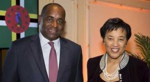 Dominica Prime Minister Roosevelt Skerrit with Baroness Scotland.