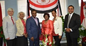 Resigned Liberal MPP Bas Balkissoon and defeated NDP MP Rathika Sitsabaiesan flank former Trinidad and Tobago consul general Dr. Vidhya Gyan Tota-Maharaj at T&T independence celebrations. Gerald V. Paul photo. By Gerald V. Paul