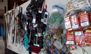 Some of the contraband confiscated from Georgetown Prison in Guyana in a sweep of cells.