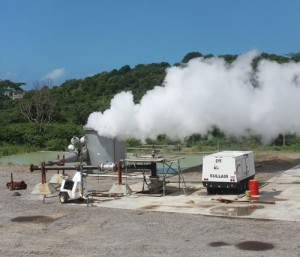 Geothermal energy production site in Montserrat with drilled well.