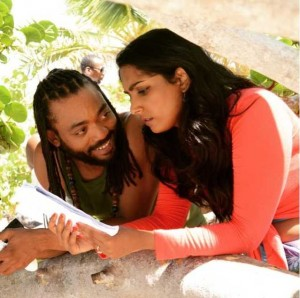 Machel Montano and co-star Natalie Perera in Bazodee