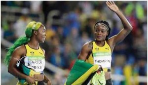 Jamaica's Elaine Thompson, wins the 100-meter final on Saturday, August 13. Thirdplaced teammate Shelly-Ann Fraser-Pryce fell short in her bid to win the event for a record third successive Olympics.